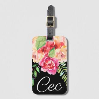 Etiqueta Para Maletas Negro y monograma pintado rosa de las flores de la