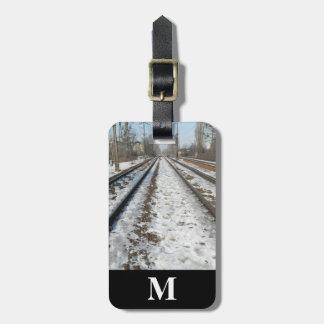 Etiqueta Para Maletas Nieve del invierno del viaje del monograma en los