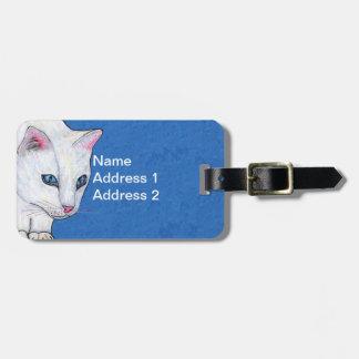 Etiqueta Para Maletas Ojos azules claros brillantes del gato blanco