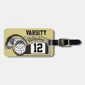 Etiqueta Para Maletas Oro y voleibol deportivo del negro