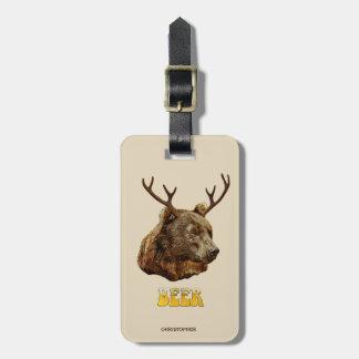 Etiqueta Para Maletas Oso divertido fresco de los ciervos de la cerveza