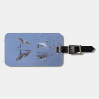 Etiqueta Para Maletas Pájaros del Egret nevado del vuelo