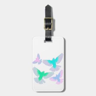 Etiqueta Para Maletas Pájaros en colores pastel