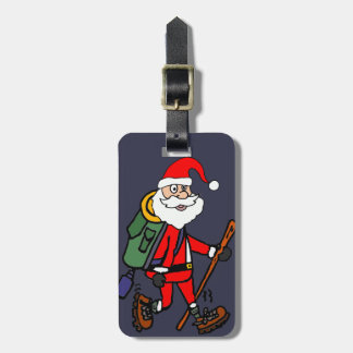 Etiqueta Para Maletas Papá Noel lindo que camina el dibujo animado del