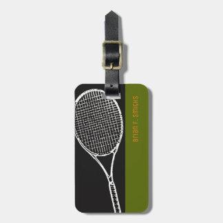 Etiqueta Para Maletas para un viaje del jugador de tenis, un negro y