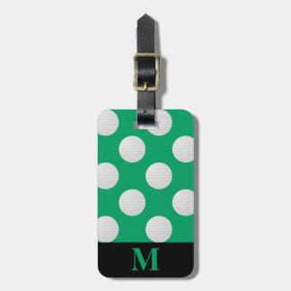 Etiqueta Para Maletas Pelotas de golf blancas del monograma, verde del