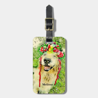 Etiqueta Para Maletas Perro del golden retriever con la acuarela de la