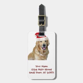 Etiqueta Para Maletas Perro-mascota de Labrador navidad-santa Claus