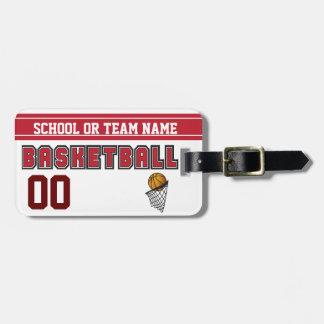 Etiqueta Para Maletas Personalice el baloncesto rojo oscuro y blanco