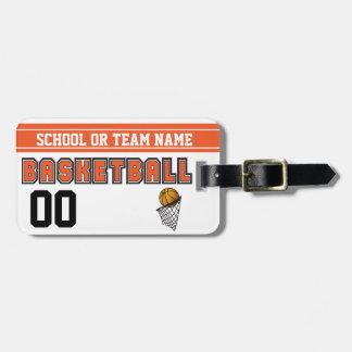 Etiqueta Para Maletas Personalice el naranja y el negro del baloncesto