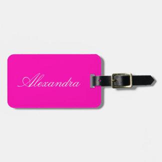 Etiqueta Para Maletas Personalizar rosado de neón del color sólido él