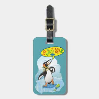 Etiqueta Para Maletas Pingüino de rey desesperado que dice malas