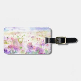 Etiqueta Para Maletas Pintura abstracta del prado del wildflower de la