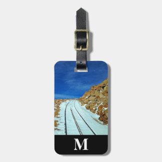 Etiqueta Para Maletas Pistas de ferrocarril de la nieve del invierno del