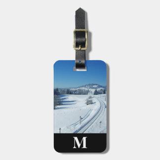Etiqueta Para Maletas Pistas de ferrocarril del viaje del monograma a