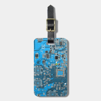 Etiqueta Para Maletas Placa de circuito del friki del ordenador - azul