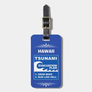 Etiqueta Para Maletas Plan de evacuación del tsunami (la cerveza del