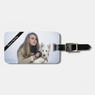 Etiqueta Para Maletas Plantilla de encargo de la foto del perro y del