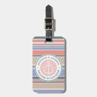 Etiqueta Para Maletas Playa náutica del rosa de moda de las rayas del