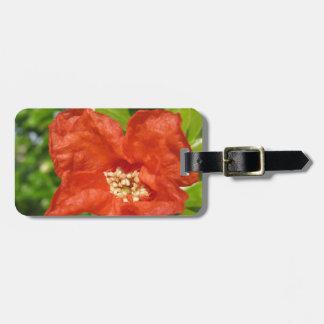 Etiqueta Para Maletas Primer de la flor roja de la granada