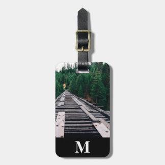 Etiqueta Para Maletas Primer de las pistas de ferrocarril del viaje del