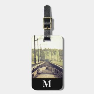 Etiqueta Para Maletas Primer del viaje del monograma de las pistas de