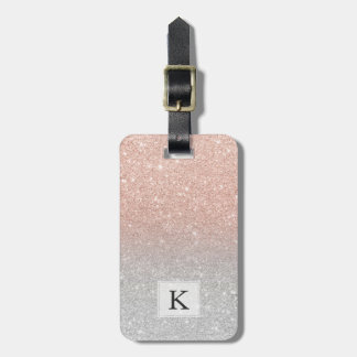 Etiqueta Para Maletas Purpurina color de rosa de moda de la plata del