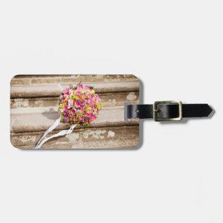 Etiqueta Para Maletas Ramo floral del boda del rosa y del verde