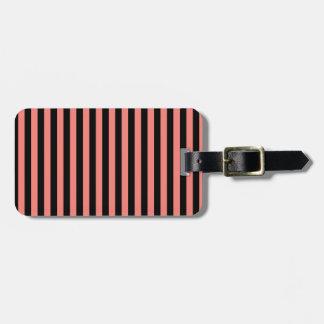 Etiqueta Para Maletas Rayas finas - negro y rosa del coral