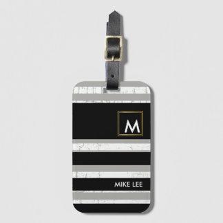 Etiqueta Para Maletas refresqúese/negro/blanco modernos, rayados