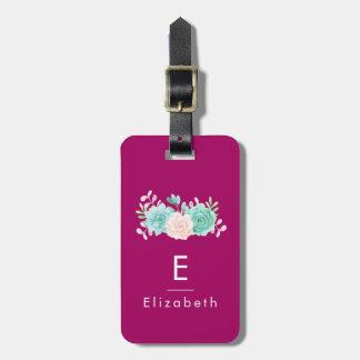 Etiqueta Para Maletas Rosa en colores pastel y ramo floral verde en la