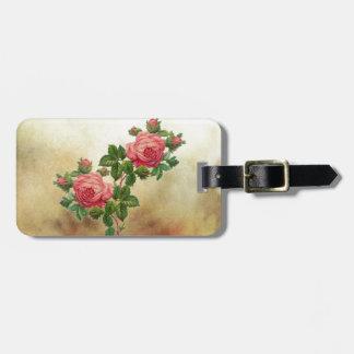 Etiqueta Para Maletas rosas rojos del vintage