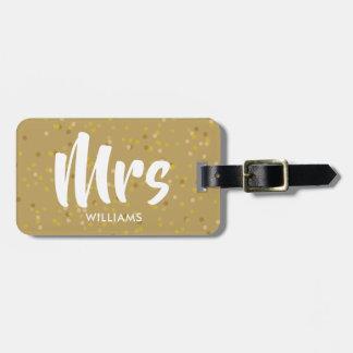 Etiqueta Para Maletas Señora personalizada del confeti del polvo de oro