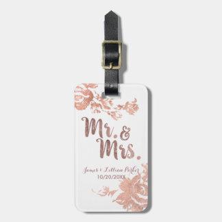 Etiqueta Para Maletas Sr. y señora color de rosa Simple Floral Wedding
