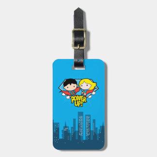 Etiqueta Para Maletas ¡Superhombre de Chibi y poder de Chibi Supergirl