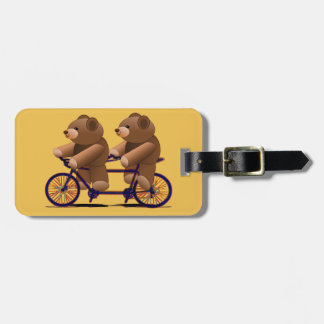Etiqueta Para Maletas Tándem de la bicicleta, impresión del oso de