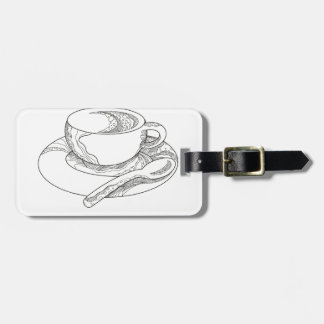 Etiqueta Para Maletas Taza de Doodle del café