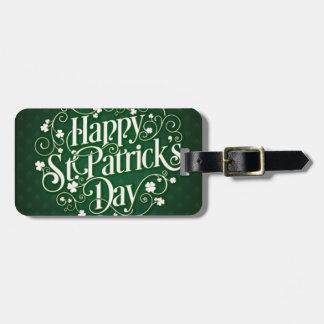 Etiqueta Para Maletas Tipografía feliz verde del ornamento del día de