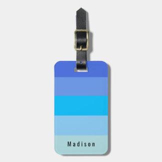 Etiqueta Para Maletas Tonalidades personales Editable del agua azul de