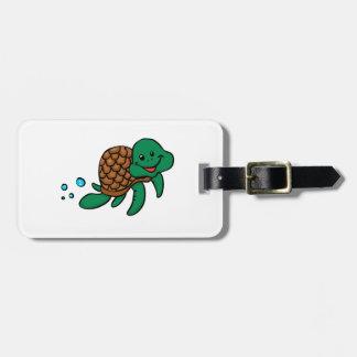 Etiqueta Para Maletas Tortuga de mar del dibujo animado