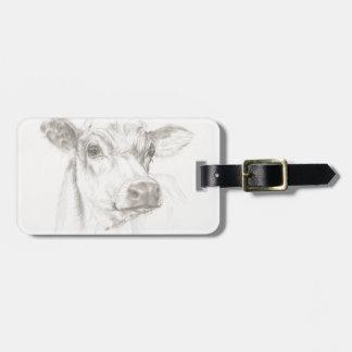 Etiqueta Para Maletas Un dibujo de una vaca joven