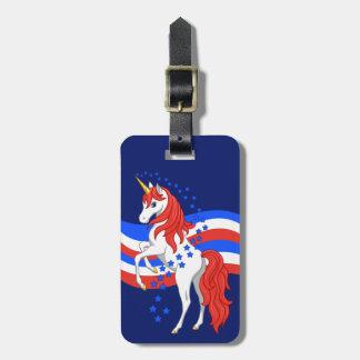 Etiqueta Para Maletas Unicornio americano patriótico azul blanco rojo