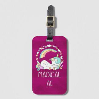 Etiqueta Para Maletas Unicornio divertido que dice el AF mágico
