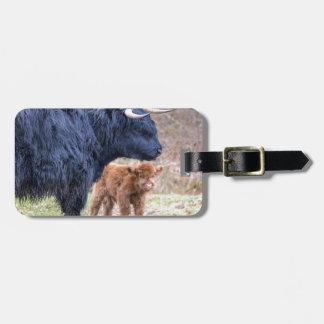 Etiqueta Para Maletas Vaca escocesa negra de la madre del montañés con