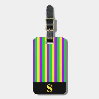Etiqueta Para Maletas Verde del carnaval del monograma, amarillo, rayas