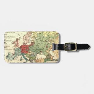 Etiqueta Para Maletas Vintage del mundo de los países del mapa de Europa