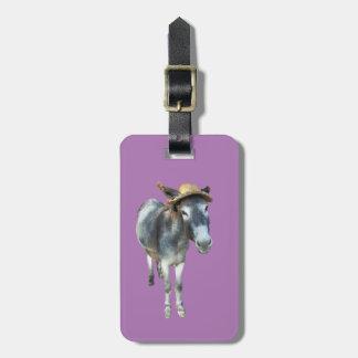 Etiqueta Para Maletas Violeta el burro en gorra de paja con las flores