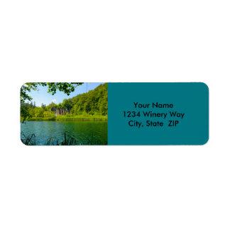 Etiqueta Parque nacional de los lagos Plitvice en Croacia