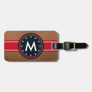Etiqueta patriótica de cuero del equipaje con el