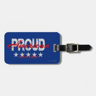 Etiqueta patriótica orgullosa americana del